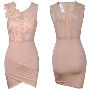 Lace Nude Color Stitch Cross Bodycon Dress